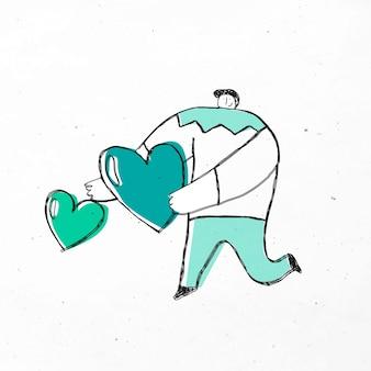 Mężczyzna daje zielone serca kreskówki