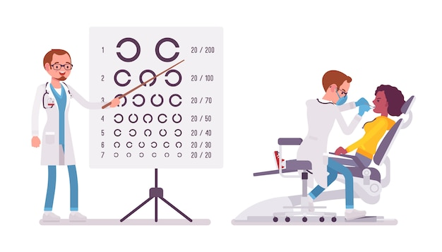 Mężczyzna dentysta i okulista