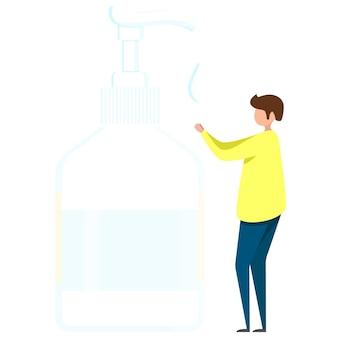 Mężczyzna dezynfekuje ręce, środek dezynfekujący do rąk, środek dezynfekujący, mydło do rąk, bakterie i bakterie do rąk, izolowana butelka z odtłuszczaczem do rąk. ilustracja wektorowa