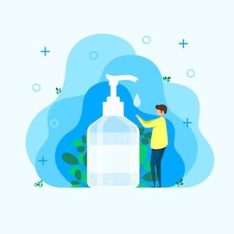 Mężczyzna dezynfekuje ręce, środek do dezynfekcji rąk, środek do dezynfekcji, mydło do rąk, bakterie i bakterie do rąk, izolowaną butelkę z odtłuszczaczem do rąk