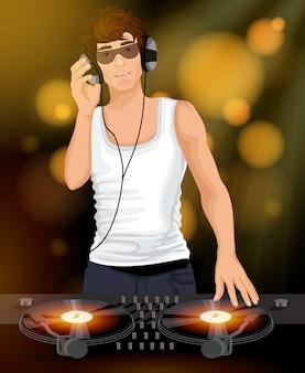 Mężczyzna dj ze słuchawkami
