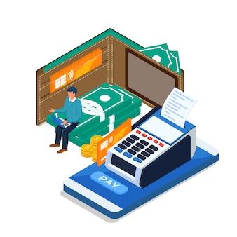 Mężczyzna dokonuje płatności online za pomocą laptopa, telefonu komórkowego. koncepcja izometrycznej płatności online.
