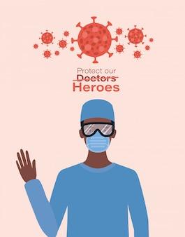 Mężczyzna doktorski bohater w okularach z jednolitą maską i wirusem ncov 2019