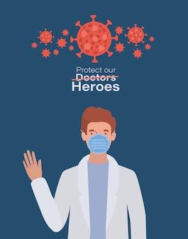 Mężczyzna doktorski bohater z jednolitą maską i wirusem ncov 2019