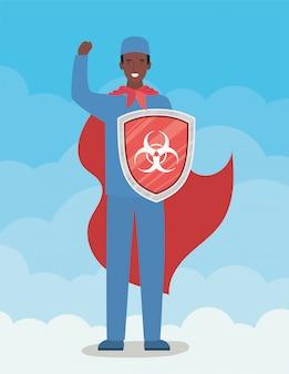 Mężczyzna doktorski bohater z peleryną i tarczą przeciw projektowi wirusa ncov 2019 objawów choroby covid 19 i ilustracji motywu medycznego