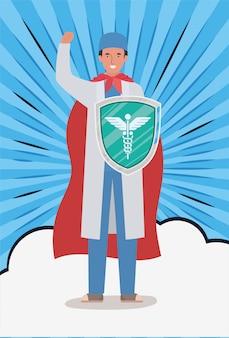 Mężczyzna doktorski bohater z przylądkiem i tarczą przeciw projektowi wirusa ncov 2019 objawów choroby epidemicznej covid 19 i ilustracji motywu medycznego