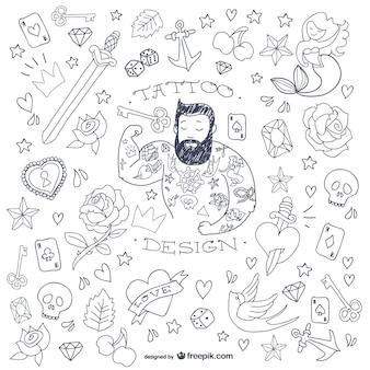 Mężczyzna doodle symbole tatuaż