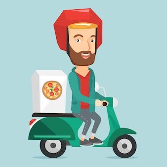 Mężczyzna dostarcza pizzę na hulajnoga.
