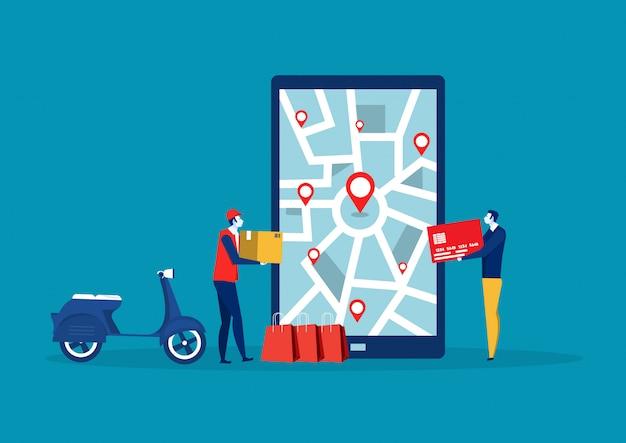 Mężczyzna dostawa szuka lokalizacji na; mapa telefonu komórkowego. geolokalizacja zamówienia