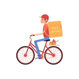 Mężczyzna dostawy jeżdżący na rowerze i wysyłający torbę termiczną i pudełka w stylu cartoon
