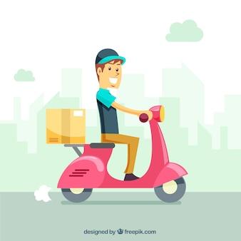 Mężczyzna dostawy płaskiej w skuterze