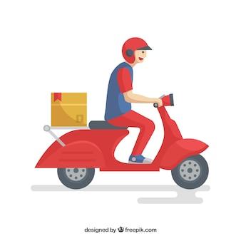 Mężczyzna dostawy smiley na skuterze