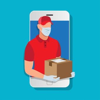Mężczyzna dostawy ubrany w maskę i rękawiczki trzyma skrzynkę pocztową