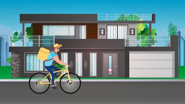 Mężczyzna dostawy żywności na rowerze