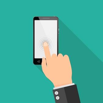 Mężczyzna dotyka telefonu z ekranem dotykowym. ilustracja.