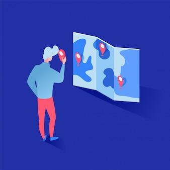 Mężczyzna ekspert studiuje geotagi na mapie 3d, inwestor planuje projekty postać z kreskówki