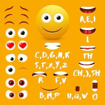 Mężczyzna emoji usta animacji wektor elementów projektu