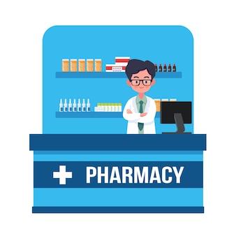 Mężczyzna farmaceuta w aptece. ilustracji wektorowych koncepcja apteki, projektowanie w stylu płaskiej kreskówki, medycyna, zdrowie