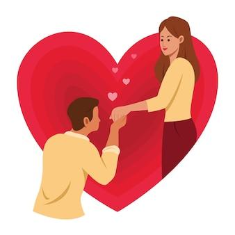 Mężczyzna flirt kobieta stojąca w wielkim sercu to symbol miłości.