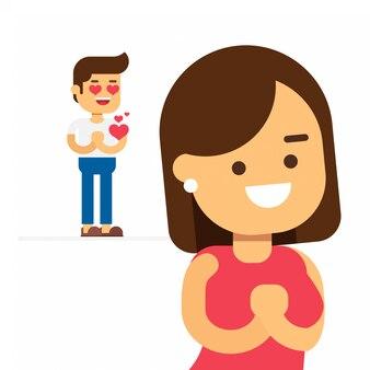 Mężczyzna flirtuje z piękną kobietą