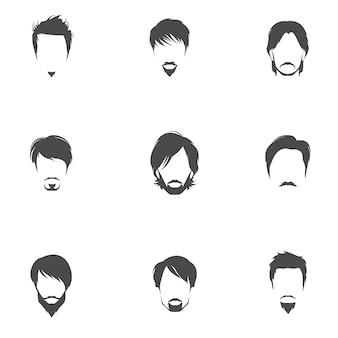 Mężczyzna fryzury ikony kolekcji