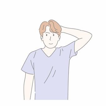 Mężczyzna gestykuluje ręką w koncepcji niepewność, pytanie, znaleźć odpowiedź, myślenie.