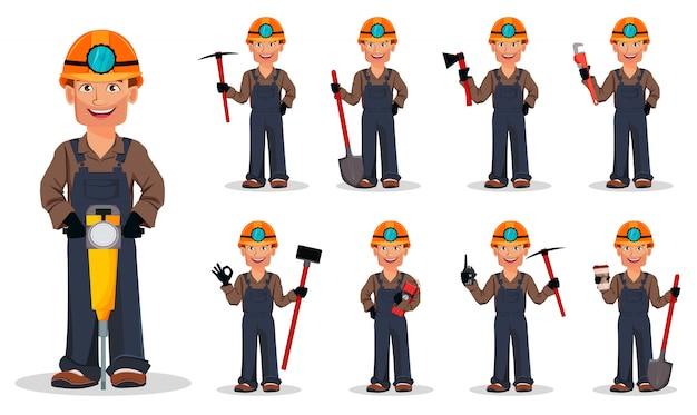 Mężczyzna górnik, pracownik górniczy, zestaw dziewięciu poz