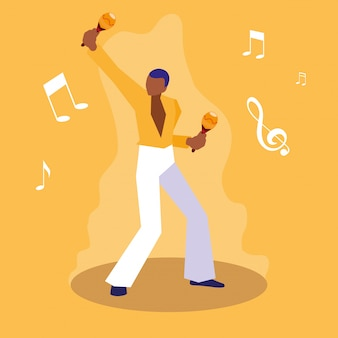 Mężczyzna gra charakter muzyk marakasy
