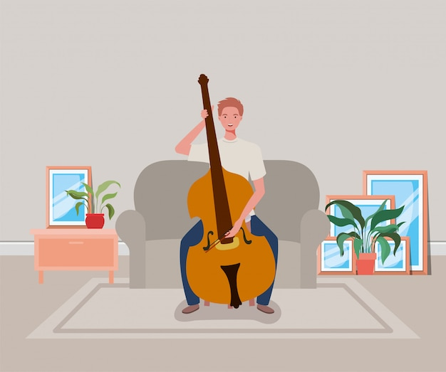 Mężczyzna gra na instrumencie wiolonczela