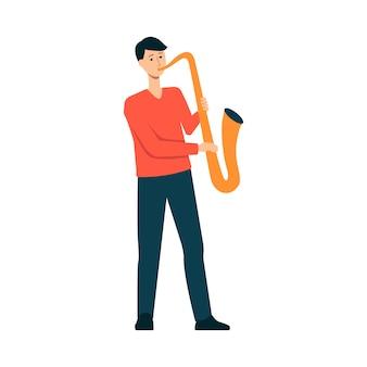 Mężczyzna gra na saksofonie w stylu cartoon