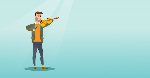 Mężczyzna gra na skrzypcach