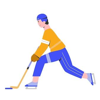 Mężczyzna gra w hokeja na lodzie