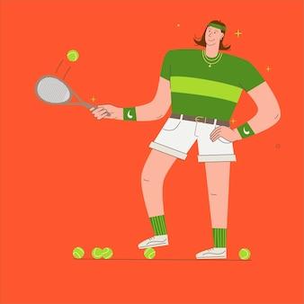 Mężczyzna gra w tenisa. sportowiec ćwiczenia ilustracja koncepcja. trening, gra w tenisa, tenisista trzymający rakietę. wektor w stylu płaski.