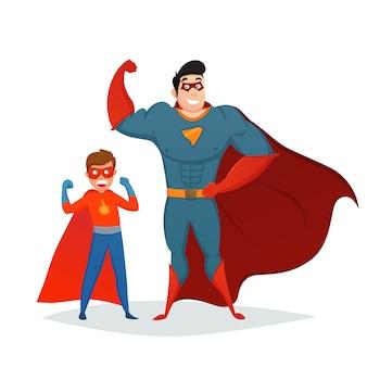 Mężczyzna i chłopiec superheroes retro skład