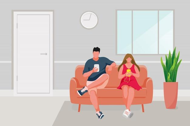 Mężczyzna i dziewczyny obsiadanie na kanapy ilustraci