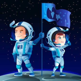 Mężczyzna i kobieta astronautów na księżycu z flagą. kosmonauta słodkie postacie z kreskówek. powierzchnia i przestrzeń księżyca