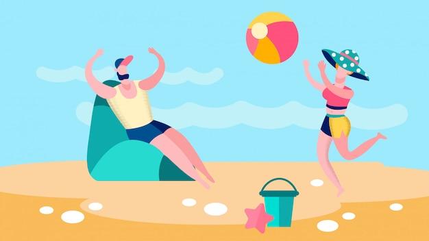 Mężczyzna i kobieta bawić się ballgame mieszkania ilustrację
