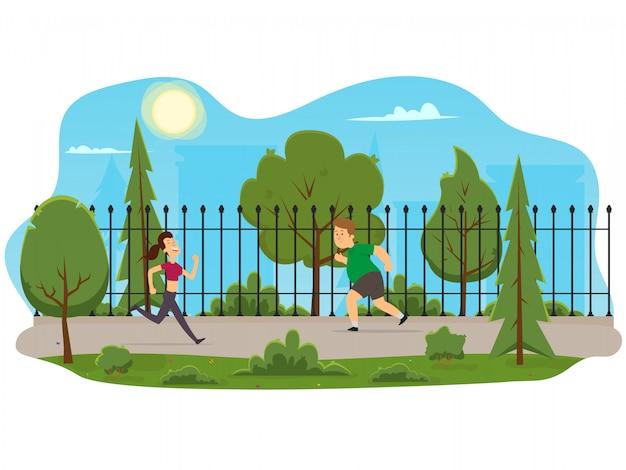 Mężczyzna i kobieta biegają rano w parku.