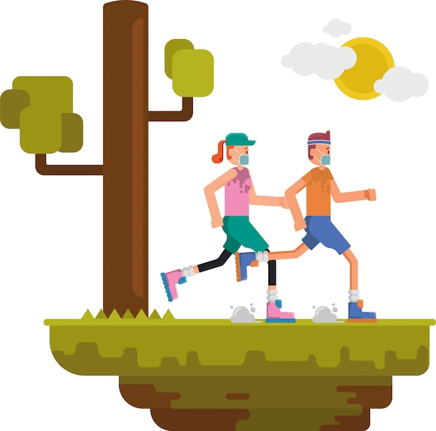 Mężczyzna i kobieta biegają razem rano