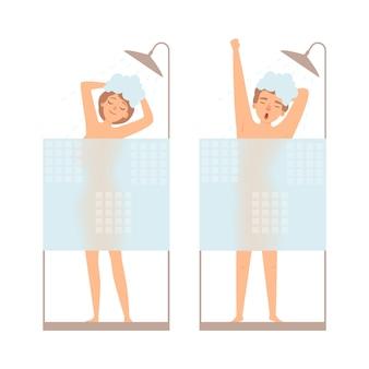 Mężczyzna i kobieta biorą prysznic. koncepcja higieny