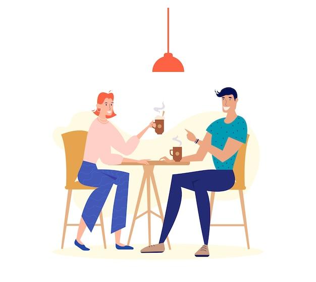 Mężczyzna i kobieta charakter picia kawy