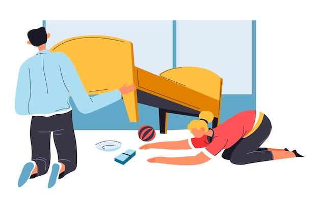 Mężczyzna i kobieta czyszczą podłogę pod sofą wektorem
