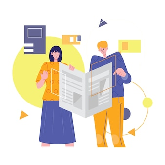 Mężczyzna i kobieta czytanie wiadomości w gazecie