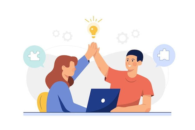 Mężczyzna i kobieta dotykają się podczas pracy