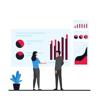 Mężczyzna i kobieta dyskutują o przedstawianiu infograficznej metafory informacji.