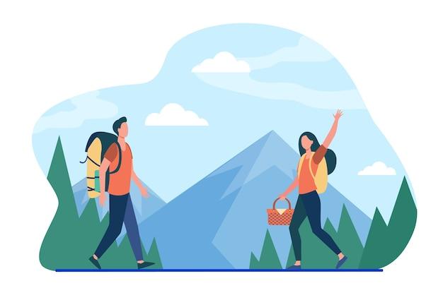 Mężczyzna i kobieta idą razem na piknik. natura, hobby. płaska ilustracja.