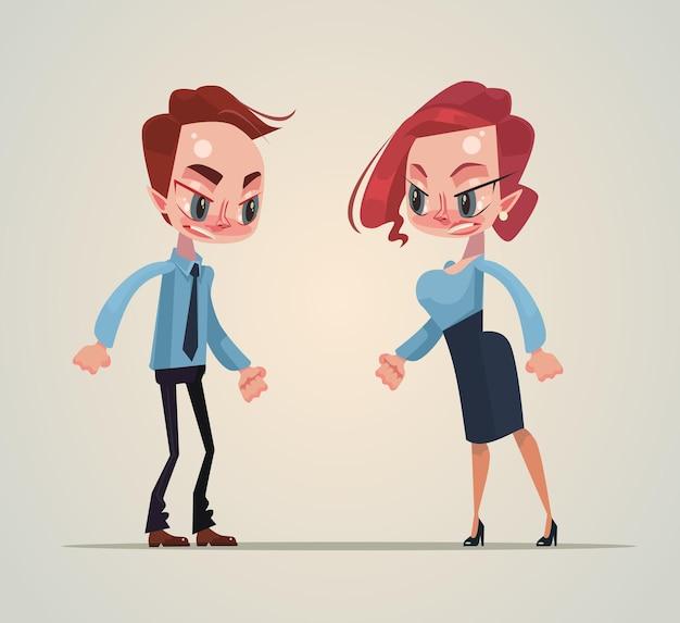 Mężczyzna i kobieta ilustracja kreskówka kłótnia