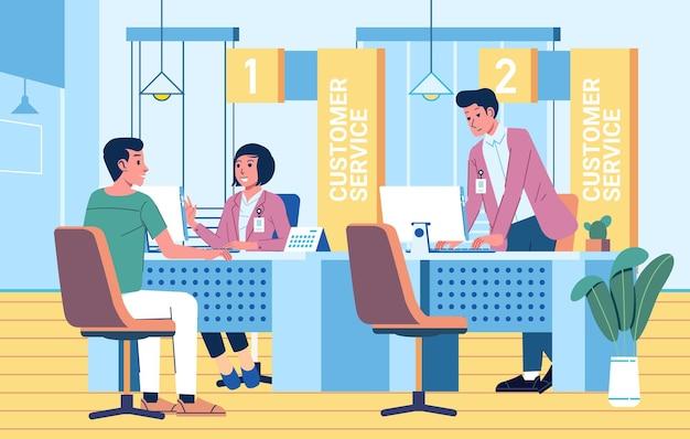 Mężczyzna i kobieta jako obsługa klienta, kobieta obsługująca klienta w punkcie obsługi klienta
