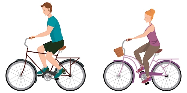Mężczyzna i kobieta, jazda na rowerze. postacie męskie i żeńskie w stylu cartoon.