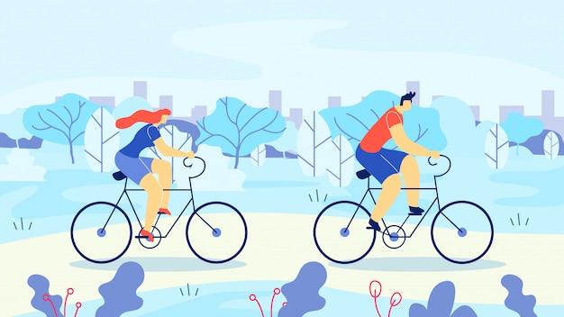 Mężczyzna i kobieta jazda rowerem na zewnątrz kreskówki miasta.